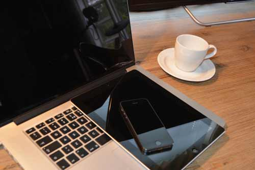 Macbook, ipad, iphone and Coffee cup, picture